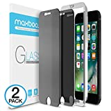 iPhone 8 Plus/ 7 Plus Screen Protector, Maxboost [Privacy Black, 2 Pack] iPhone 8 Plus Screen Privacy Screen Protector Anti-Spy Tempered Glass Screen Premium Anti-Scratch/Fingerprint, Easy Install