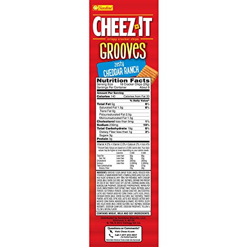 PACK OF 13 - Cheez-It Grooves Zesty Cheddar Ranch Crispy Cracker Chips, 9 oz by Cheez-It (Image #6)