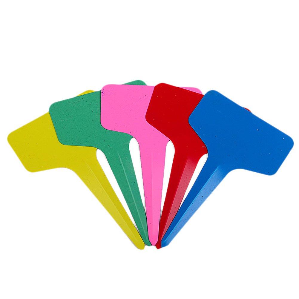 Outflower 50pcs Colorful T-type Plastic Label Nursery Garden Labels(Markable)