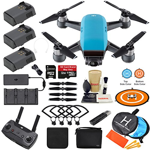 Price comparison product image DJI Spark Drone Quadcopter Fly More Combo (Sky Blue) with 3 Batteries,  Remote Controller,  Charger,  Charging Hub,  Shoulder Bag