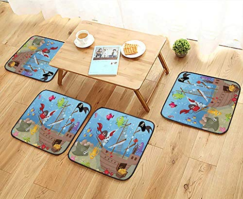 (Printsonne Home Chair Set Ocean Octopus Treasure Sunken Ship Pirate Sail Boat Ahoy Curta Machine-Washable W21.5 x L21.5/4PCS Set)