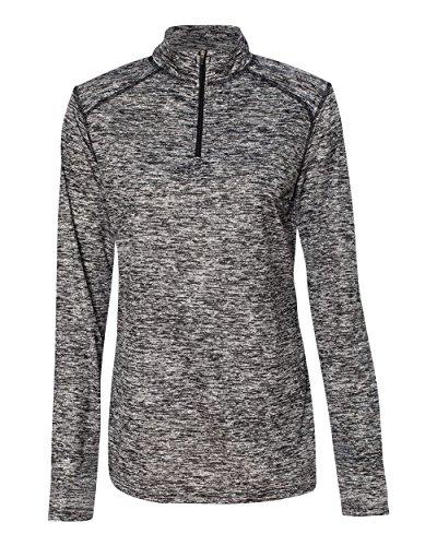 (Badger Sport BG4193 Women's Blend 1/4-Zip Pullover Black M )