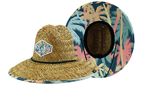 Diver Hat (Woman''s Sun Hat Straw Hat with Fabric Print Lifeguard Hat Great for Beach Ocean, Cruise, and Outdoor, Malabar Hat Co. (Palm Trees))