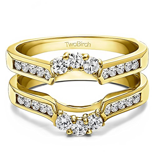 TwoBirch 10k Gold Royalty Inspired Half Halo Ring Guard Enhancer with Diamonds (G H,I2 I3) (0.54 ct. tw.)