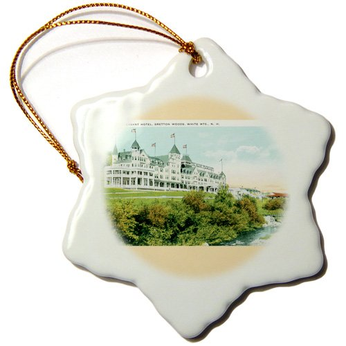 3dRose orn_170286_1 Mt. Pleasant Hotel Bretton Woods White Mountains New Hampshire Snowflake Ornament, Porcelain, 3-Inch