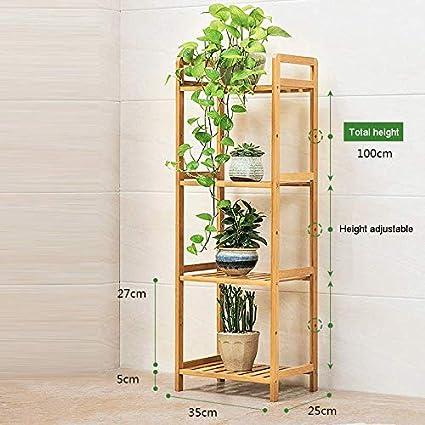 CXLT Estante Maceta Planta De Almacenamiento Soportes para Plantas Ajustable Altura Jardinera Escalera Exhibición Estantería Decoración para El Jardín,L:35CM-4Tiers: Amazon.es: Hogar