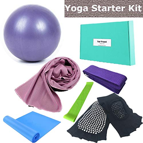 Price comparison product image Vinsisty Yoga Starter Set - 6 Piece Essentials Beginners Bundle Include Yoga Towel,  Yoga Ball,  Yoga Strap,  Stretch Band,  Yoga Sock,  Yoga Band,  Yoga Accessories Kit