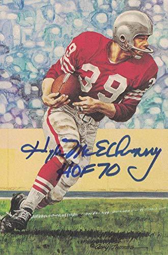 Hugh McElhenny Autographed San Francisco 49ers Goal Line Art Card Blue HOF 24347 - NFL Autographed Football Cards