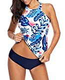 ebuddy Women Backless Top with Hipster Bottoms Tankini Set,BlueFlower-M