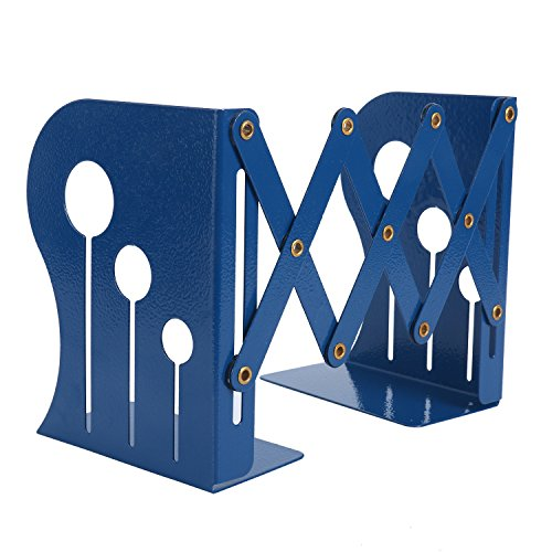 Homend Bookends Metal Iron Adjustable Books Holder Stand Desk Heavy Duty Nonskid Bookend (Blue, ()