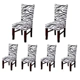 6 x Soulfeel Soft Spandex Fit Stretch Short Dining Room Chair Covers with ...