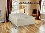Spring Solution Long Lasting 10'' Pillowtop Fully Assembled Orthopedic Back Support  Queen Mattress and 8-Inch Split Box Spring With Bed Frame,Deluxe Collection