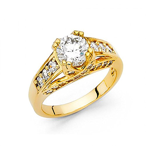 - 14k Yellow Gold Double Prong CZ Pave Engagement Ring