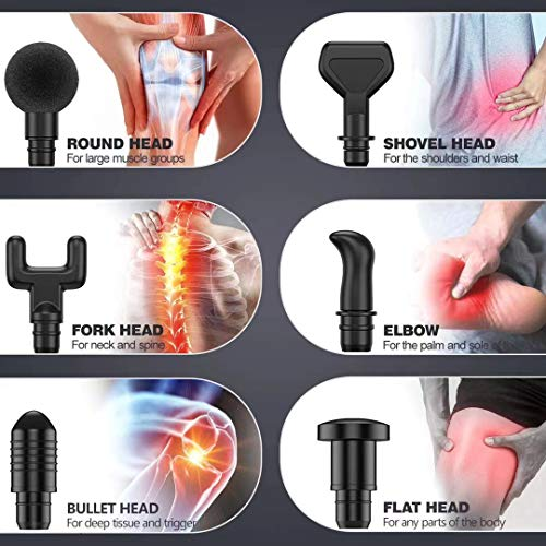 GINNO 30 Speed Massage Gun Deep Tissue Percussion Muscle Massager Handheld Body Massager Cordless Fascia Gun with 6 Heads for Relieving Muscle Pain, Soreness, and Stiff