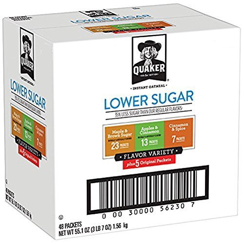 Quaker Instant Oatmeal  Lower Sugar  Variety Pack  Breakfast Cereal  48 Counts