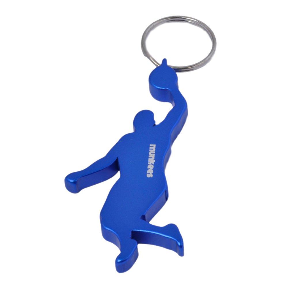 munkees - Portachiavi apribottiglie, a forma di giocatore di basket, con anello, in alluminio di alta qualità (codice articolo 3491), alluminio, Rot in alluminio di alta qualità (codice articolo 3491) AceCamp