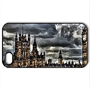 Westminister Palace - Case Cover for iPhone 4 and 4s (Medieval Series, Watercolor style, Black)