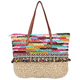 Sornean Large Knitted Straw Bag 100% Handmade Summer Beach Tote Bag Top Zipper Shoulder Bag