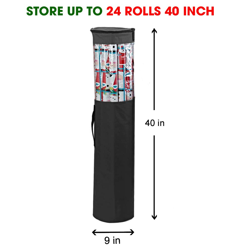 Black Heavy Duty Polyester Plus PVC Clear Bag with Handles and Zippered Top Wrap and Ribbons Store Up to 25 Rolls 40 Inch ProPik Gift Wrapping Paper Storage Organizer Bag