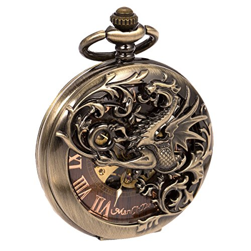 Mens Skeleton Mechanical Pocket Watch - Bronze Dragon Hollow Double Hunter ManChDa Burlywood Dial