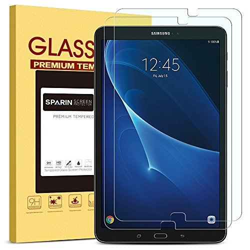 (SPARIN [2 Pack] Galaxy Tab A 10.1 Screen Protector, SM-T580 Model, 0.3mm Tempered Glass, Scratch Resistant Screen Protector for Samsung Galaxy Tab A 10.1)