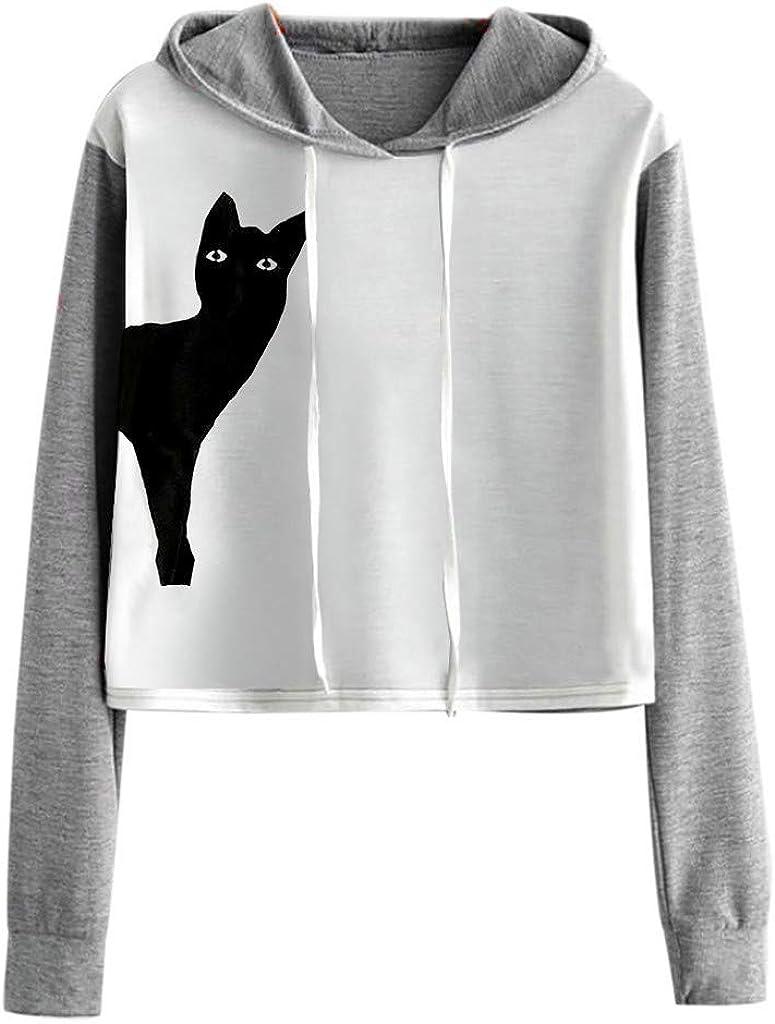Fosen Sudaderas Kawaii Mujer Tumblr Cortas Adolescentes Chicas - Casual Juveniles Camiseta con Capucha - Deportivo Tops de Estampada Gato: Amazon.es: Ropa y accesorios