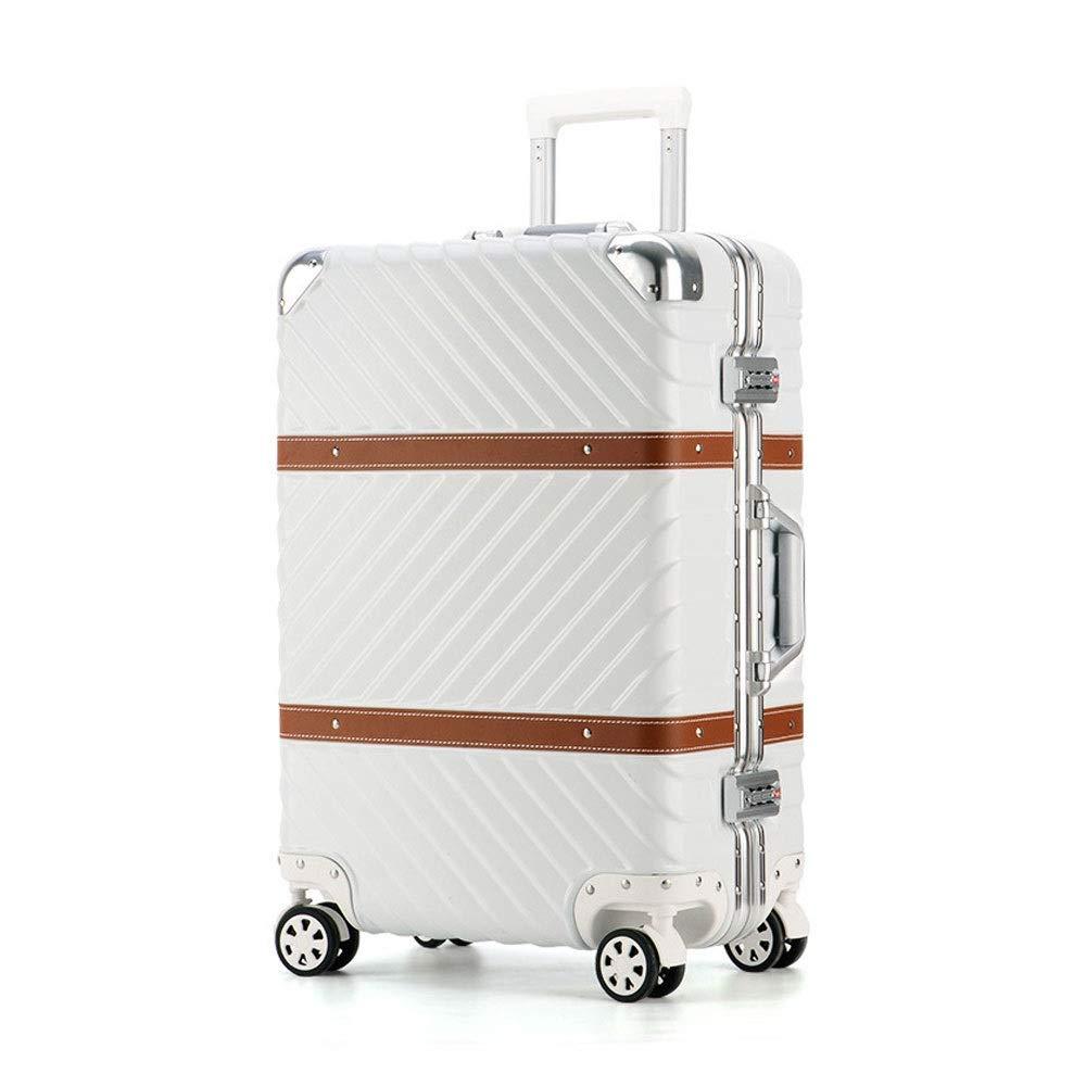 男性と女性のビジネスパスワード搭乗スーツケースのためのアルミフレームアンチスクラッチキャスタートロリーケース (Color : 白, Size : 20 inch(51x35x23cm))   B07QYMJT77