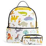 School Backpack Bag with Pencil Case Africa Animals for Girls Boys Teen Students