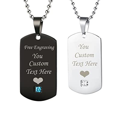 bd9dfc9315 GAGAFEEL Personalized Custom Engraved Couple Friendship Family Necklace ID  Tag Pendant Gemstone Love Gift (Black+Silver): Amazon.co.uk: Jewellery