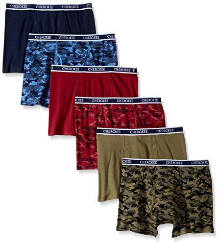 d124ce6c23 Cherokee Boys' Little 6 Boxer Brief, Camo/Solid Print Pack, S