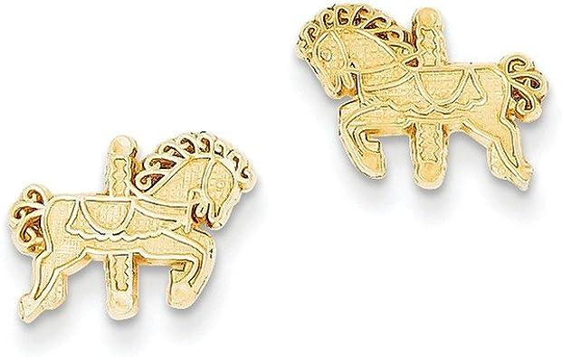 Sterling Silver /& Gold Carousel Horse Drop Earrings