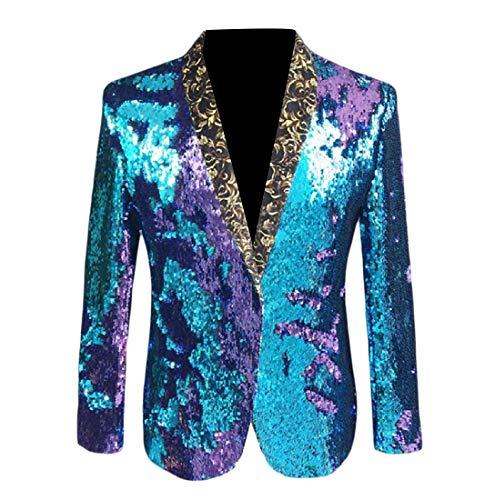 Mens Tuxedo Shiny Sequin Prom Banquet Stylish Jacket Blazer Five XS