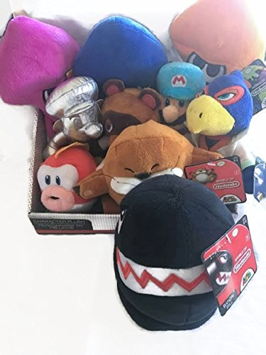 Set of 10 NINTENDO World of Nintendo Plush Bundle Set Tom Nook, Ice Mario, Metal Mario, Purple Squid, Orange Squid, Blue Squid, Banzai Bill, Falco Lombardi, Monty Mole and Cheep Cheep