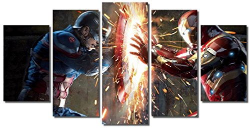 Picture Sensations Framed Canvas Art Print, Captain America Civil War Vs Iron Man - 60''x32'' by Picture Sensations