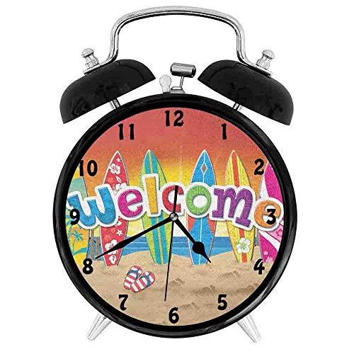 - BCWAYGOD Surfboards Desk Clock Home Unique Decorative Alarm Ring Clock 3.8in