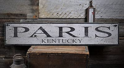 Vintage PARIS, KENTUCKY - Rustic Hand-Made Wooden USA City Sign