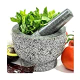 Mortar and Pestle Set In Solid Unpolished Heavy Granite Stone - Molcajete Grinder Bowl and Holder For Guacamole, Herb, Spice, Garlic, Kitchen, Cooking, Grain, Medicine - Made for a lifetime