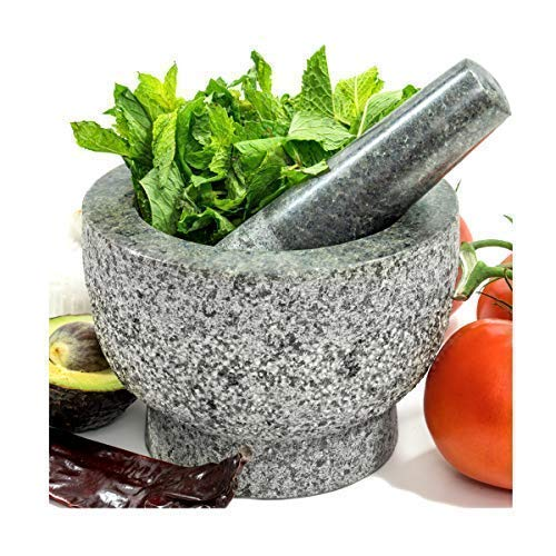 Mortar and Pestle Set In Solid Unpolished Heavy Granite Stone - Molcajete Grinder Masher Bowl and Holder For Food, Guacamole, Herb, Spice, Garlic, Kitchen, Cooking and Grain - Made for a lifetime - Heavy Mortar