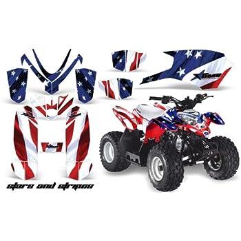 AMRRACING Polaris Outlaw 50 2005-2012 Full Custom ATV Graphics Decal Kit Skulls and Butterflies Pink Blue
