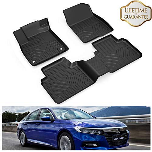 KIWI MASTER Floor Mats Liners Compatible for 2018-2020 Honda Accord All Models All Weather Protector Mat Front & Rear 2 Row Seat TPE Slush Liner Black