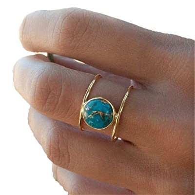 Myhouse Vintage Natural Stone Round Engagement Ring for Women Charm Accessories, 7: Toys & Games