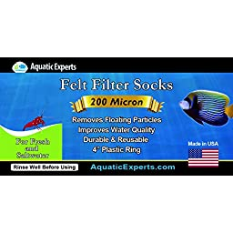 Filter Socks 200 Micron - 4 Inch Ring by 14 Inch Long – 2 pack- LONG - Aquarium Felt Filter Bags - Custom Made In The USA For Aquatic Experts