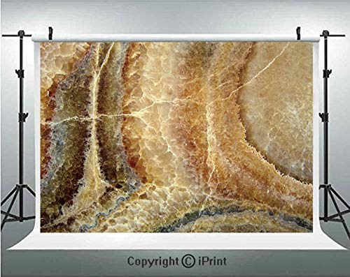 Roll Cinn - Marble Photography Backdrops Onyx Stone Surface Pattern Banded Variety Layered Differing Lines Image Decorative,Birthday Party Background Customized Microfiber Photo Studio Props,5x3ft,Sand Brown Cinn