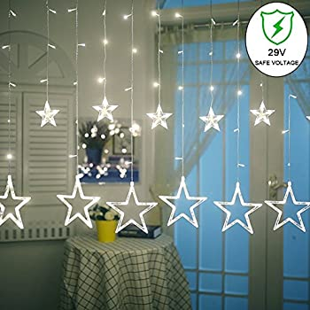 Ucharge Star Curtain Lights,8 Modes,29V,With 12 Stars 138pcs LED Waterproof