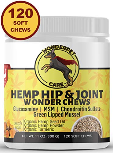 WonderPet Care Hemp Hip & Joint Supplement for Dogs Chondroitin Glucosamine MSM Hemp Oil Hemp Powder Turmeric | Extra Strength Formula for Arthritis Pain Relief & Mobility Increase | 120 Soft Chews