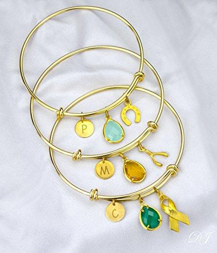Vermeil Horseshoe (Cancer ribbon necklace bangle, Good luck bangle, horseshoe bangle, survivor bracelet, celebration bracelet, wishbone bangle, mothers day gift)