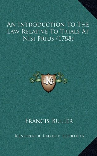 An Introduction To The Law Relative To Trials At Nisi Prius (1788) PDF
