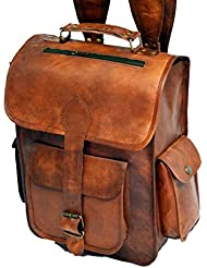 Handolederco Vintage Bag Leather Handmade Vintage Style Backpack/College Bag