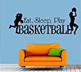 Eat Sleep Play Basketball ~ Girls - Wall Decal ~ 12'' x 31'' - Black or Color Option ~ By Starlight Decals