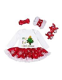 BabyPreg Infant Baby Girl My First Christmas Outfits Romper Tutu Dress Headband